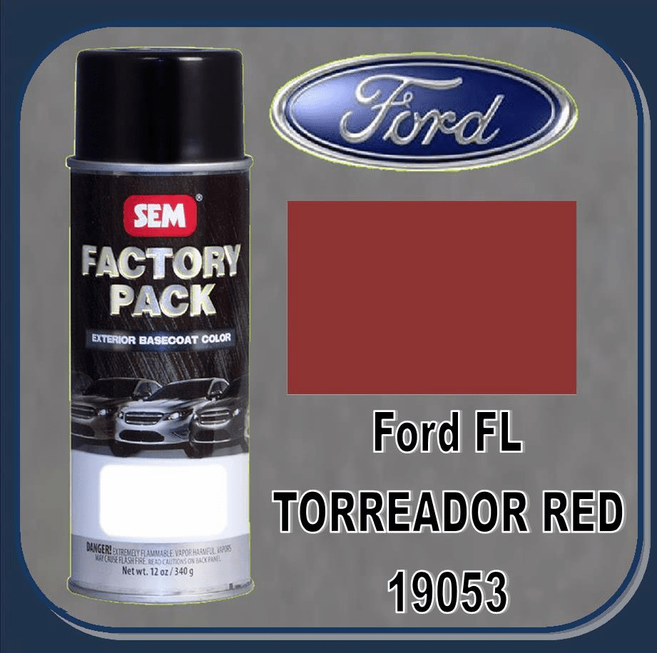 "SEM-19053 SEM Factory Pack Basecoat Ford Paint Code FL ""TORREADOR RED METALIC"" 12oz Aerosol"