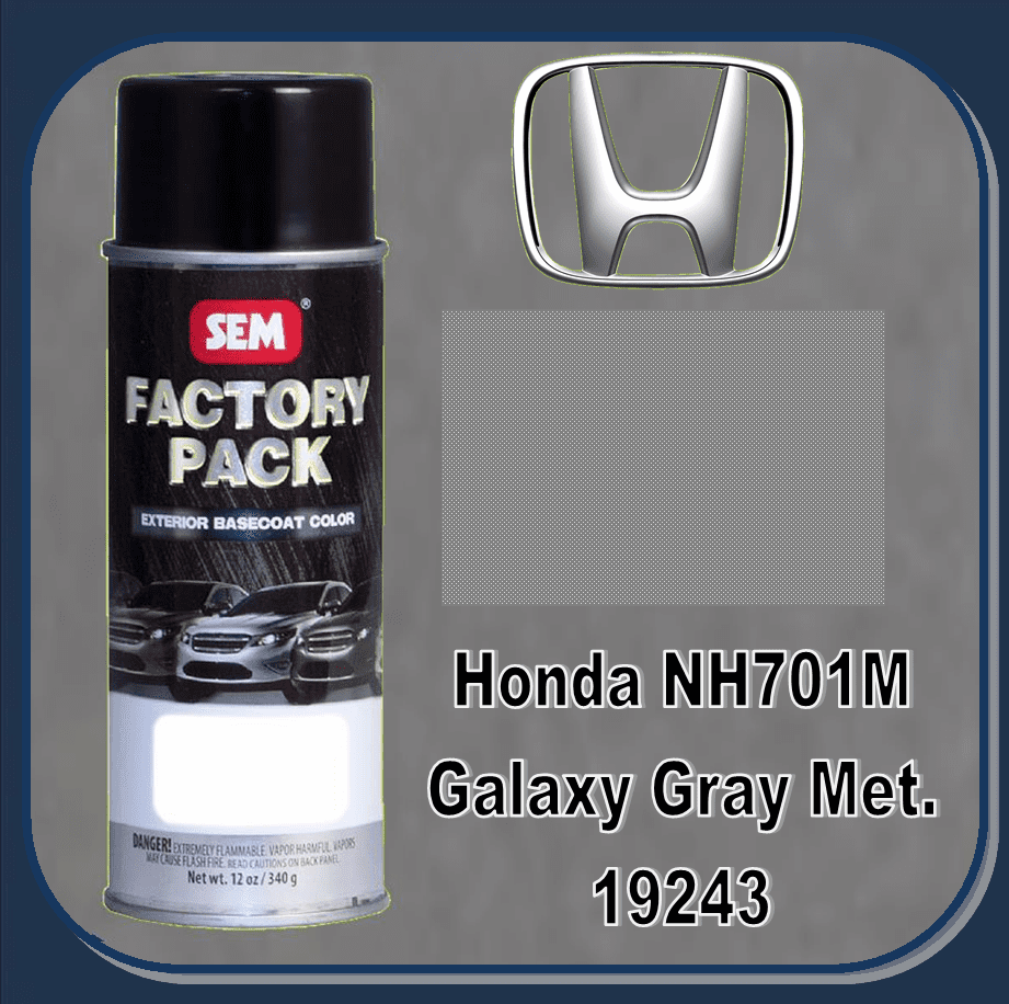 "SEM-19243 SEM Factory Pack Basecoat Honda Paint Code NH701M ""GALAXY GRAY METALIC"" 12oz Aerosol"