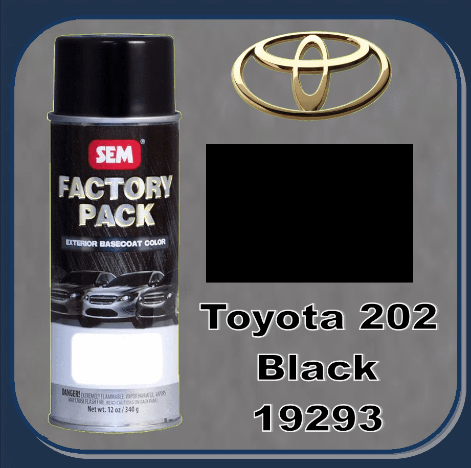 "SEM-19293 SEM Factory Pack Basecoat Toyota Paint Code 202 ""BLACK"" 12oz Aerosol  ""Superseded to SEM-19423 by SEM 06/18"""