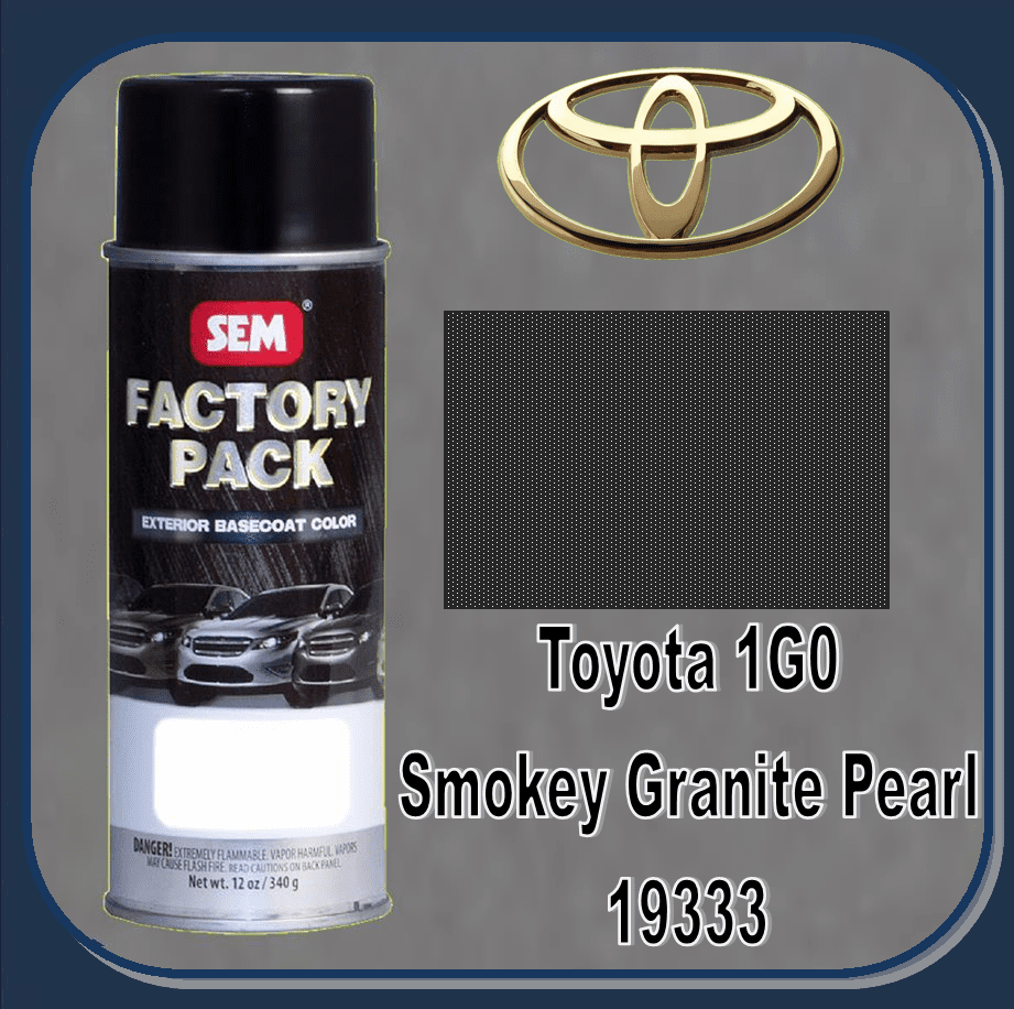 "SEM-19333 ""DISCONTINUED"" SEM Factory Pack Basecoat Toyota Paint Code 1G0 ""SMOKEY GRANITE PEARL"" 12oz Aerosol"