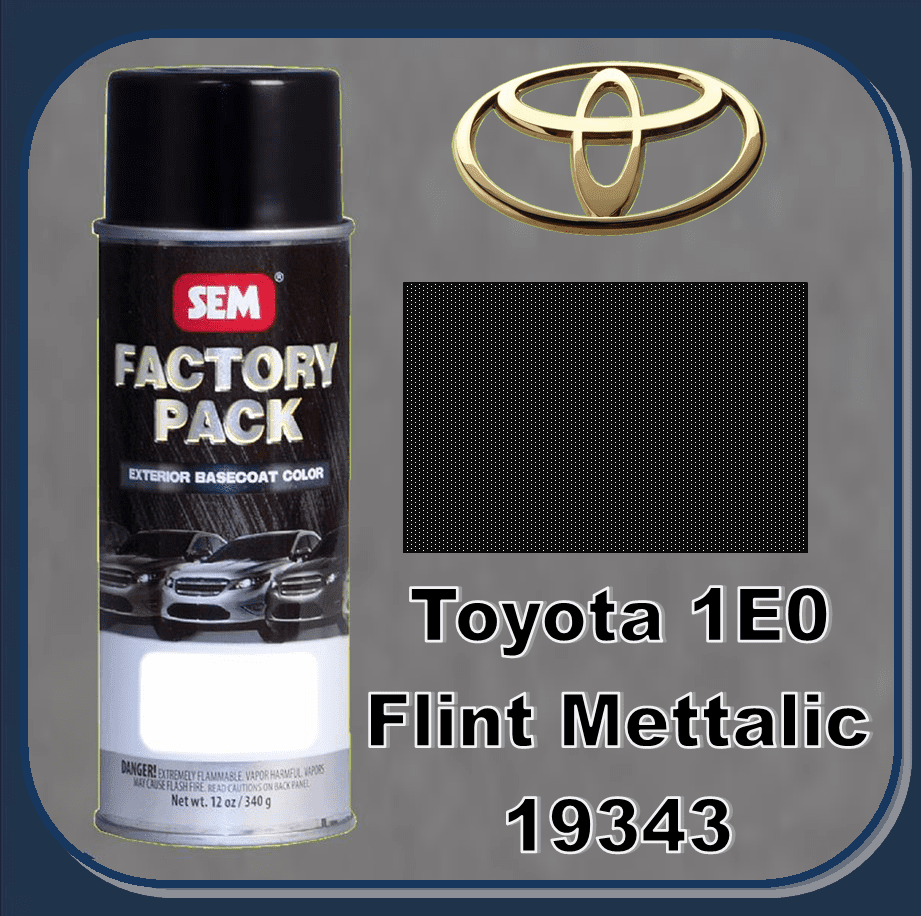 "SEM-19343 ""DISCONTINUED"" SEM Factory Pack Basecoat Toyota Paint Code 1E0 ""FLINT METALIC"" 12oz Aerosol"