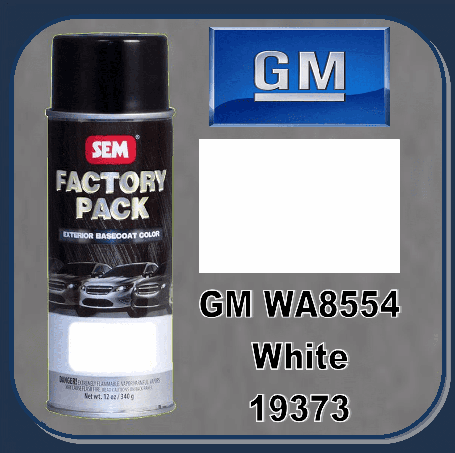 "SEM-19373 SEM Factory Pack Basecoat GM Paint Code WA8554 ""WHITE"" 12oz Aerosol"