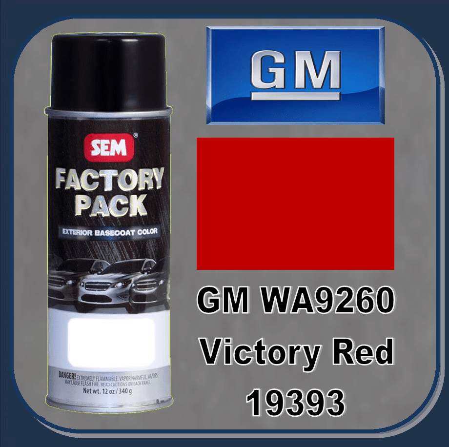 "SEM-19393 SEM Factory Pack Basecoat GM Paint Code WA9260 ""VICTORY RED"" 12oz Aerosol"