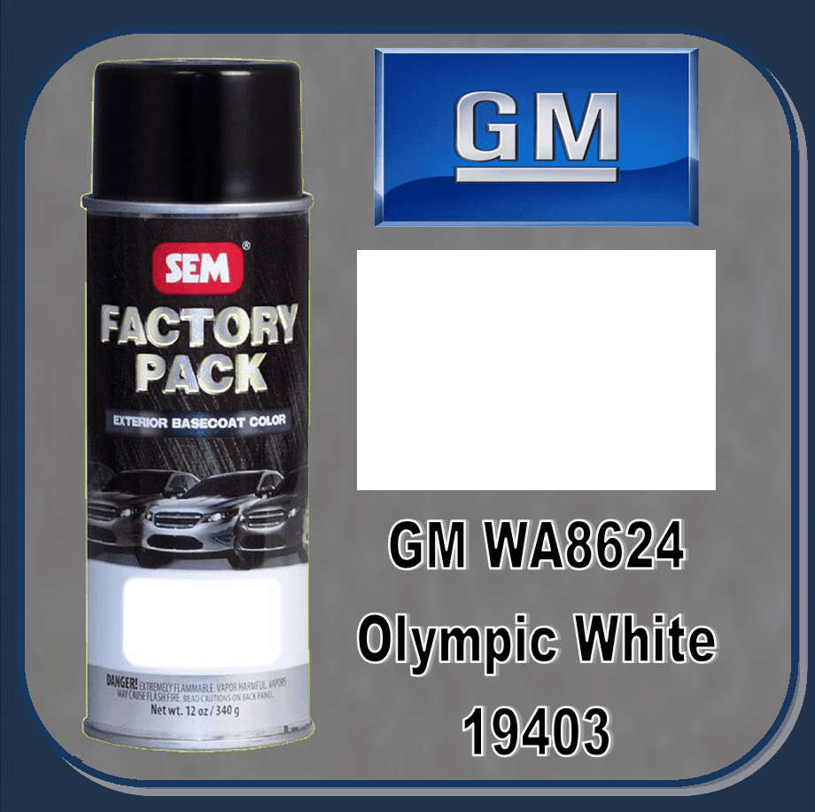 "SEM-19403 SEM Factory Pack Basecoat GM Paint Code WA8624 ""OLYMPIC WHITE"" 12oz Aerosol"