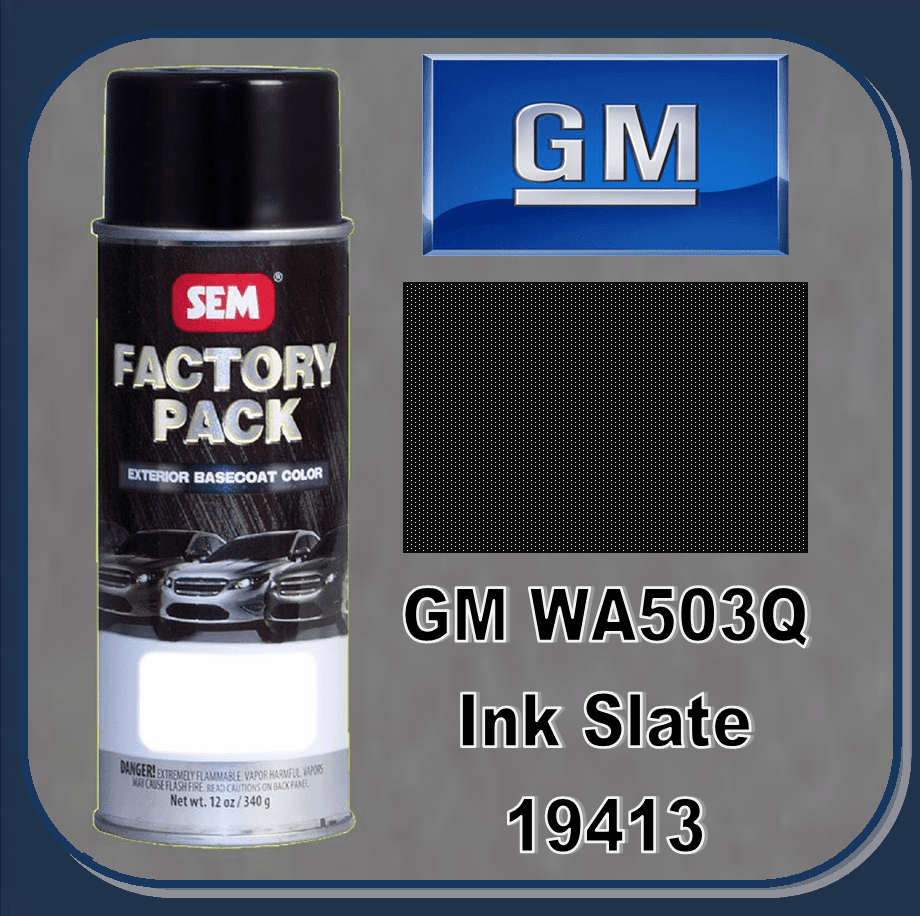 "SEM-19413 ""DISCONTINUED"" SEM Factory Pack Basecoat GM Paint Code WA503Q ""INK SLATE"" 12oz Aerosol"