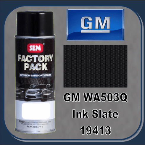 """DISCONTINUED"" SEM-19413  SEM Factory Pack Basecoat GM Paint Code WA503Q ""INK SLATE"" 12oz Aerosol"