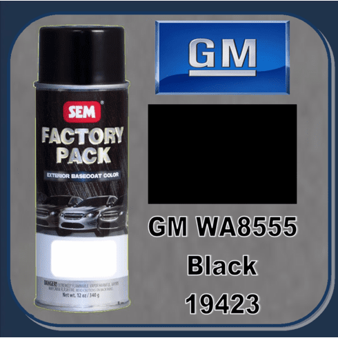 "SEM-19423 SEM Factory Pack Basecoat GM Paint Code WA8555 ""BLACK"" 12oz Aerosol"