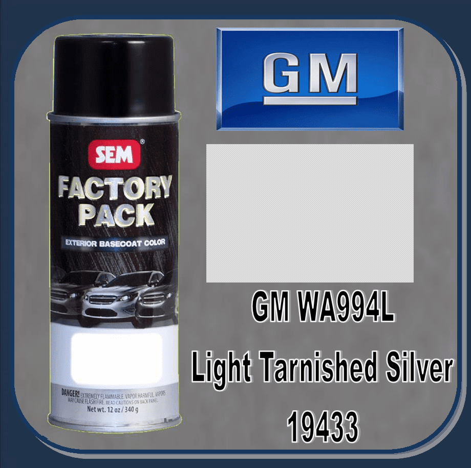 "SEM-19433 SEM Factory Pack Basecoat GM Paint Code WA994L ""LIGHT TARNISHED SILVER"" 12oz Aerosol"