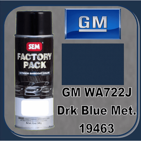 "SEM-19463 SEM Factory Pack Basecoat GM Paint Code WA722J ""DARK BLUE METALIC"" 12oz Aerosol"