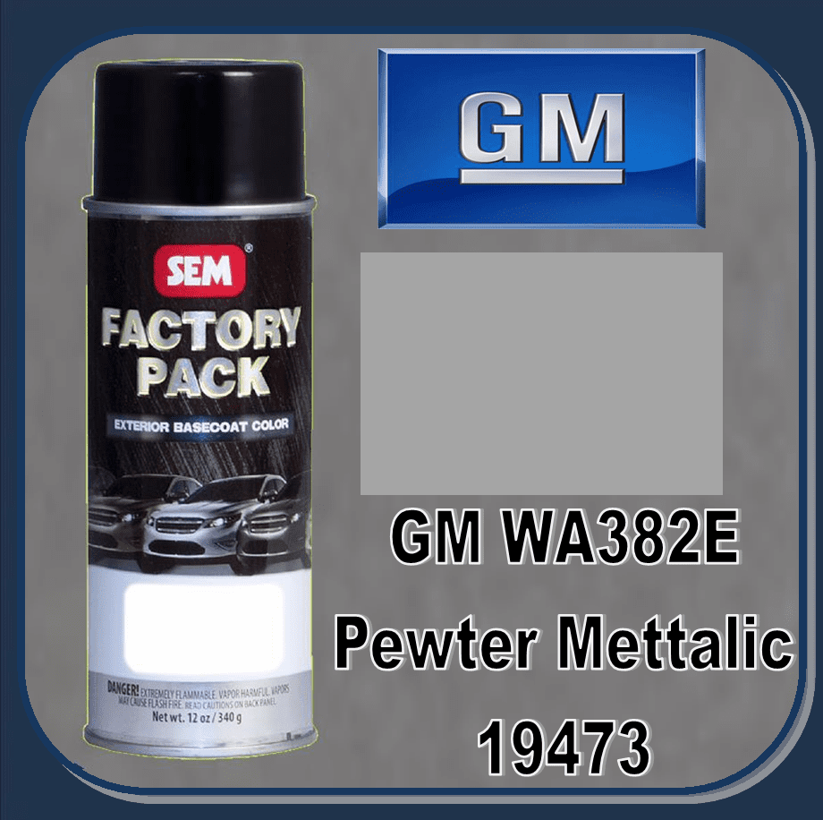 "SEM-19473 SEM Factory Pack Basecoat GM Paint Code WA382E ""PEWTER METALIC"" 12oz Aerosol"