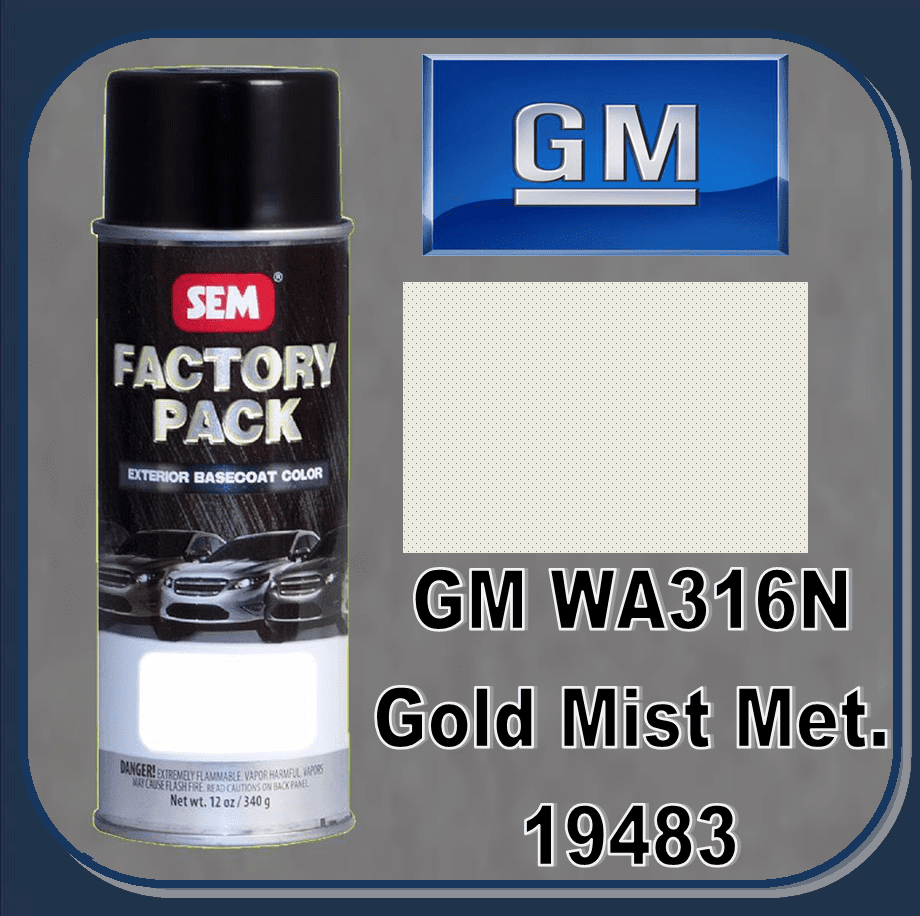 "SEM-19483 SEM Factory Pack Basecoat GM Paint Code WA316N ""GOLD MIST METALIC"" 12oz Aerosol"