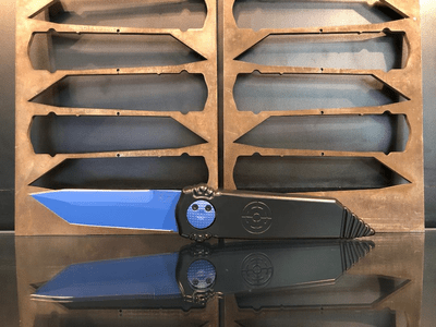 "Paragon Dredd Lock Knife Black Aluminum (4"" Blue Tanto)"