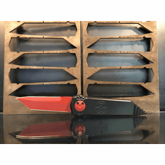 "Paragon Dredd Lock Knife Black Aluminum (4"" Red Tanto)"