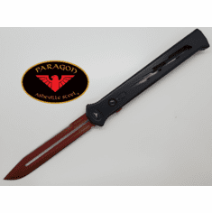 """Paragon Estiletto Clip Point OTF Automatic Red Bolt Handle (5.5"""" Red Blade)"""