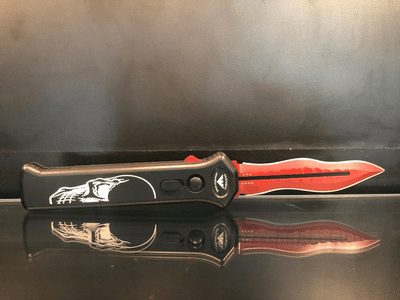 "Paragon Para X ""Torch"" Dagger OTF Automatic Knife Death Head (3.5"" Red)"