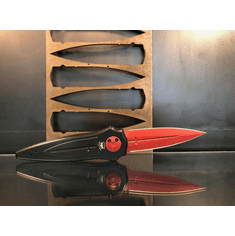 "Paragon Cross/Shield/Sword Knife Black/Red Shield Aluminum (4"" Red)"