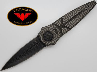"Paragon Warlock Knife SPECIAL EDITION Lasered OD GREEN Aluminum (4"" Black)"