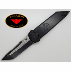 "Zoom Paragon Dredd Lock Knife Black Aluminum (4"" Two Tone Tanto SERR)"
