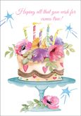 B1131 - Floral Cake Birthday Cards