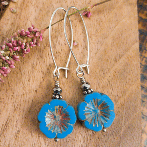 Periwinkle Blossom Hammered Hoops
