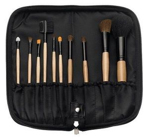 TBC 10-Piece Makeup Brush Set with Black Zippered Case