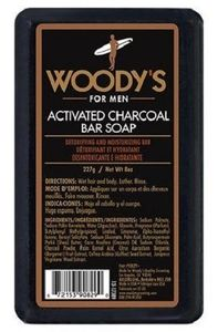 Woody's Activated Charcoal Bar Soap For Men, 8 oz.
