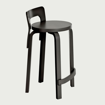 Superbe Artek Alvar Aalto K65 Low Back Kitchen / Bar Stool   Black Lacquered