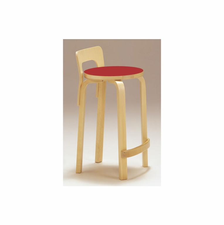 Artek Alvar Aalto K65 Low Back Kitchen / Bar Stool - Red Linoleum