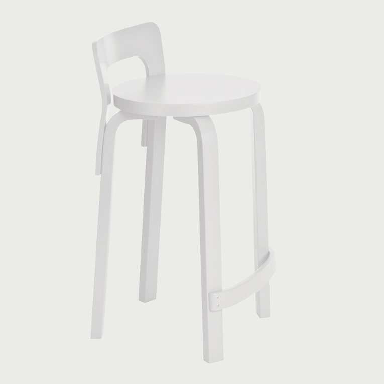 Artek Alvar Aalto K65 Low Back Kitchen / Bar Stool - White Lacquered
