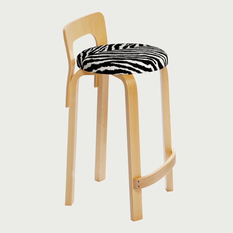 Artek Alvar Aalto Low Back Kitchen / Bar Stool K65 - Birch Legs with Upholstered Seat