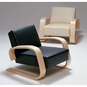Artek Alvar Aalto - Natural Birch Lounge Chair 400 - Black Leather