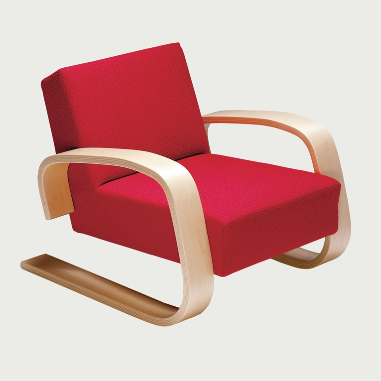 Artek Alvar Aalto - Natural Birch Lounge Chair 400 - Upholstered