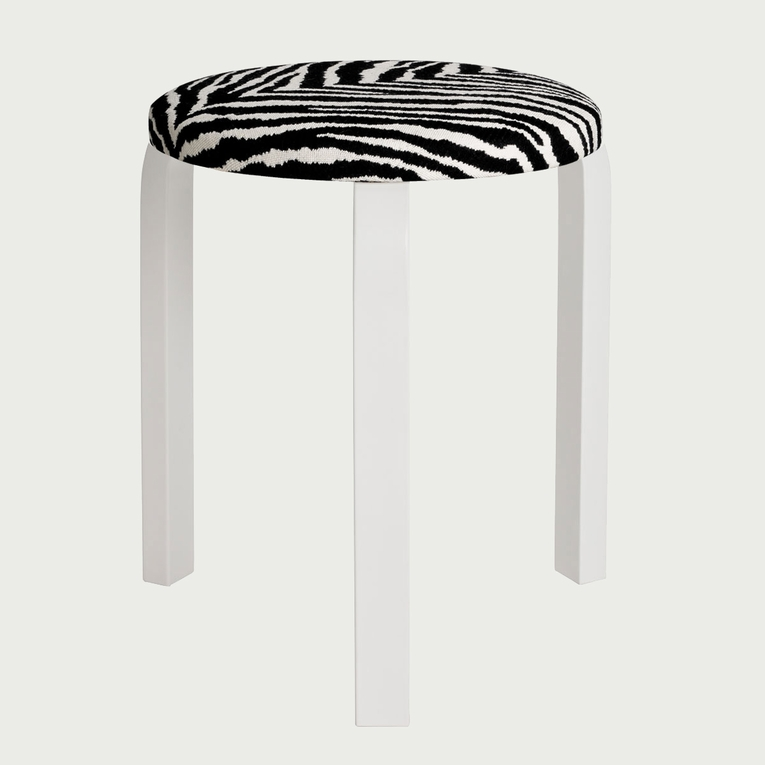 Artek Alvar Aalto - Three Legged Stool 60 - White Lacquered Legs with Zebra Upholstered Seat