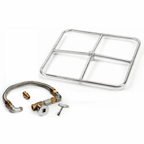 18in Square Stainless Steel Fire Pit Kit