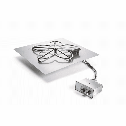 24in Square Flat Manual Electronic Ignition Fire Pit Kit