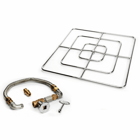 36in Square Stainless Steel High Capacity Fire Pit Kit