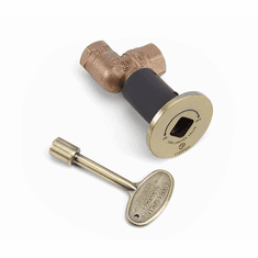 Manual Ball Valve with Key and Flange High Capacity Angled Antique Brass