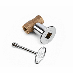 Manual Ball Valve with Key and Flange Straight Chrome