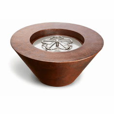 Mesa Hammered Copper Fire Bowl - Match lit