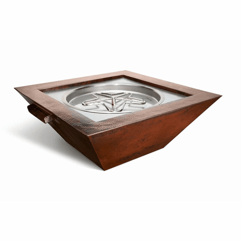 Sedona Copper Poolside Fire and Water Feature-Match Lit