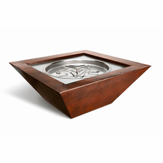 Sedona Hammered Square Copper Bowl - Match lit