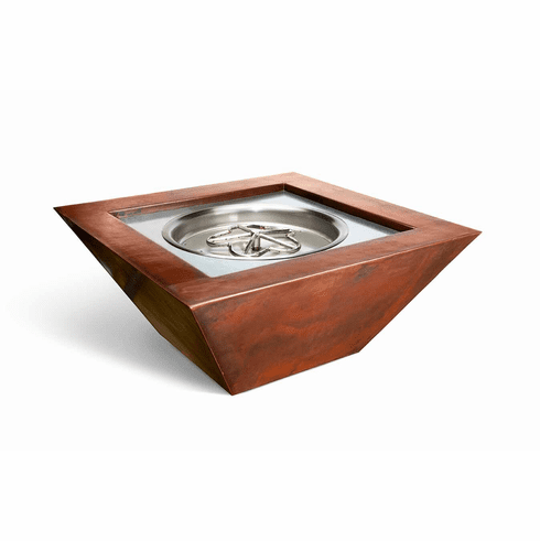 Sierra Smooth Square Copper Fire Bowl - Match lit