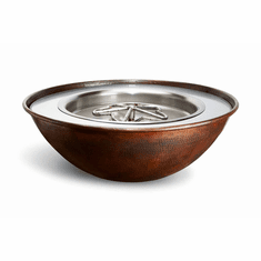 Tempe Hammered Copper Fire Bowl - Match lit