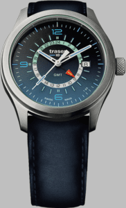 Traser P59 Aurora GMT Blue Watch with Blue Leather Strap
