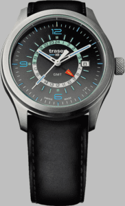 Traser P59 Aurora GMT Silver Watch with Black Leather Strap