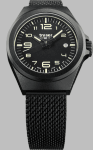 Traser P59 Essential S Black Watch with Milanese PVD Coated Stainless Steel Strap