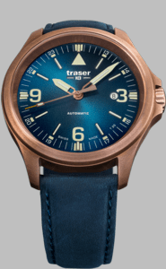 Traser P67 Officer Pro Automatic Bronze Blue Watch with Blue Leather Strap