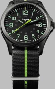 Traser P67 Officer Pro GunMetal Black/Lime Watch with Textile Strap