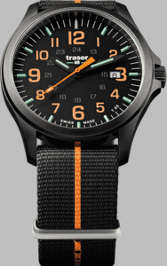 Traser P67 Officer Pro GunMetal Black/Orange Watch with Textile Strap