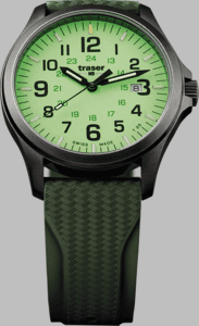 Traser P67 Officer Pro GunMetal Lime Watch with Rubber Strap